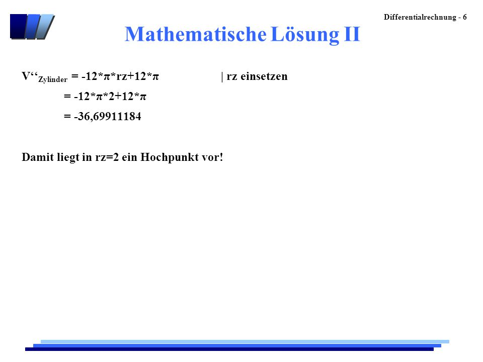 Mathematische Lösung II