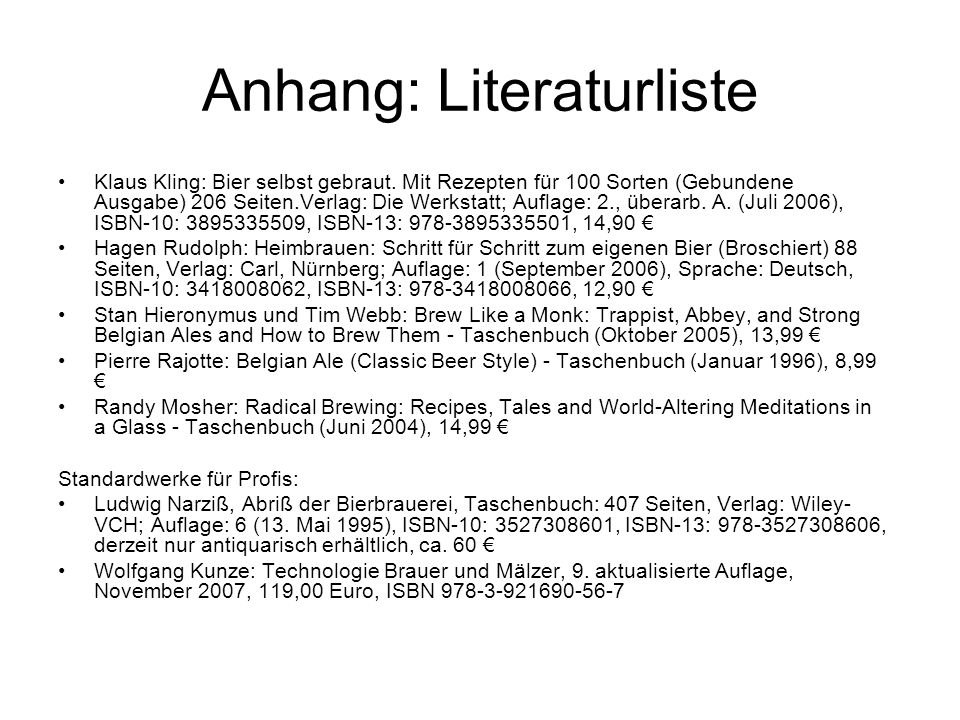 Anhang: Literaturliste