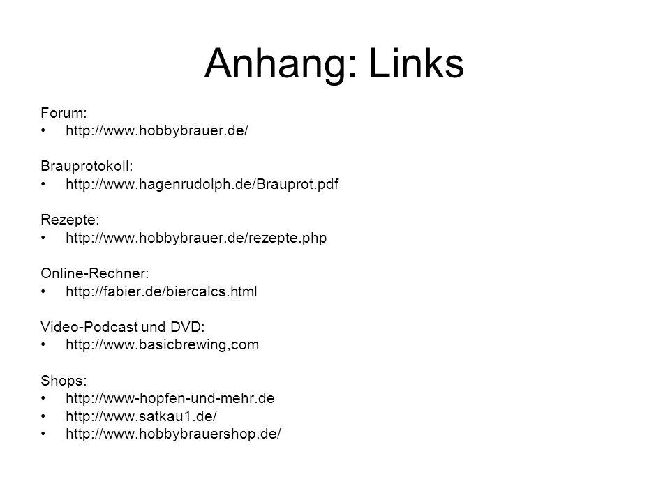 Anhang: Links Forum: http://www.hobbybrauer.de/ Brauprotokoll: