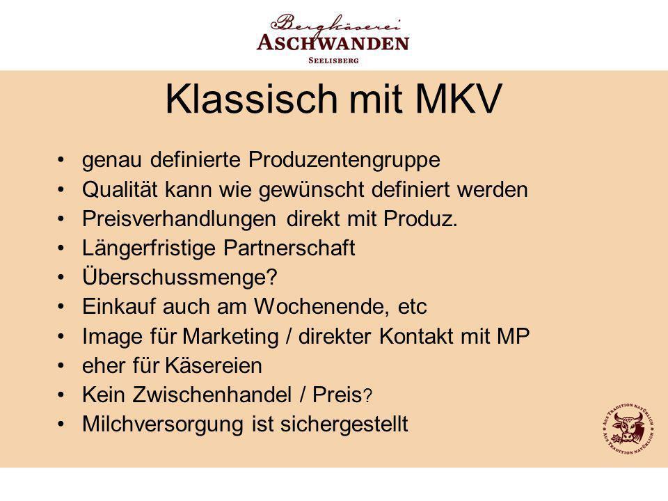 Klassisch mit MKV genau definierte Produzentengruppe
