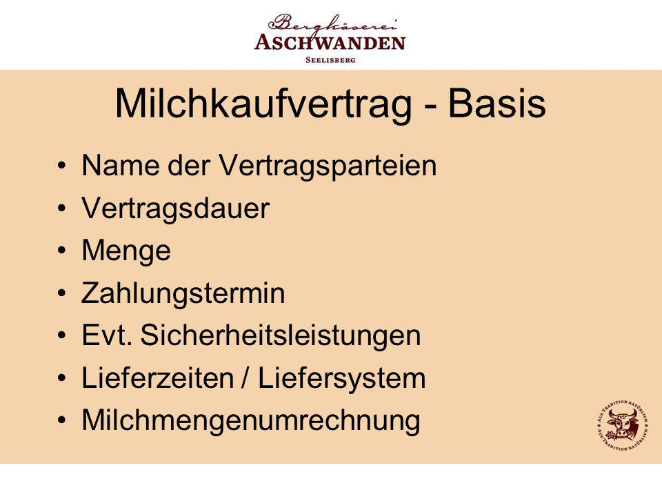 Milchkaufvertrag - Basis