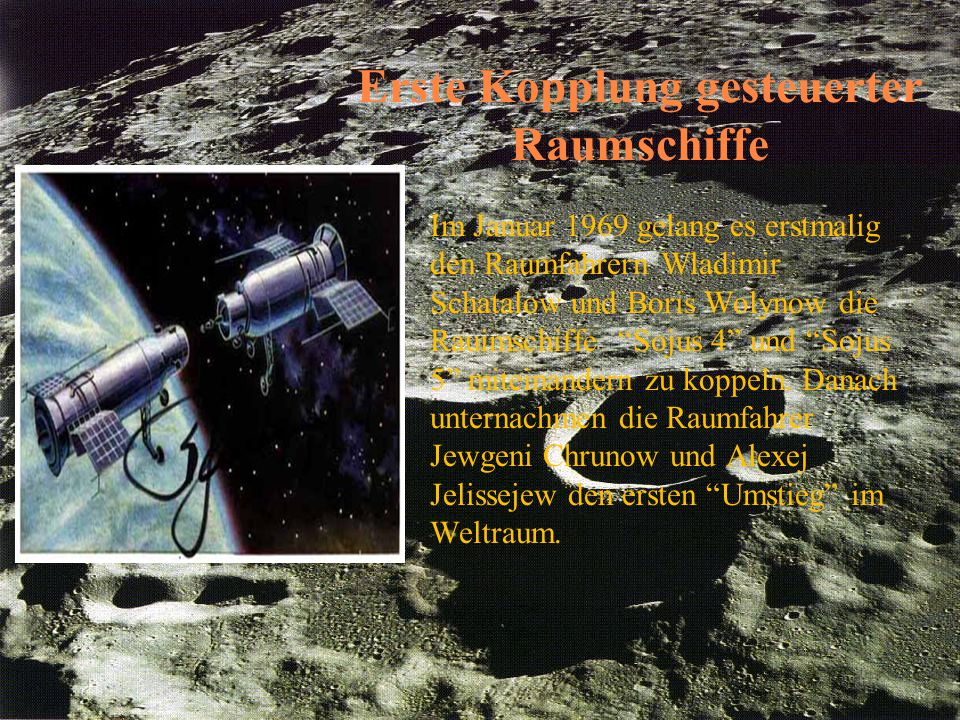 Erste Kopplung gesteuerter Raumschiffe