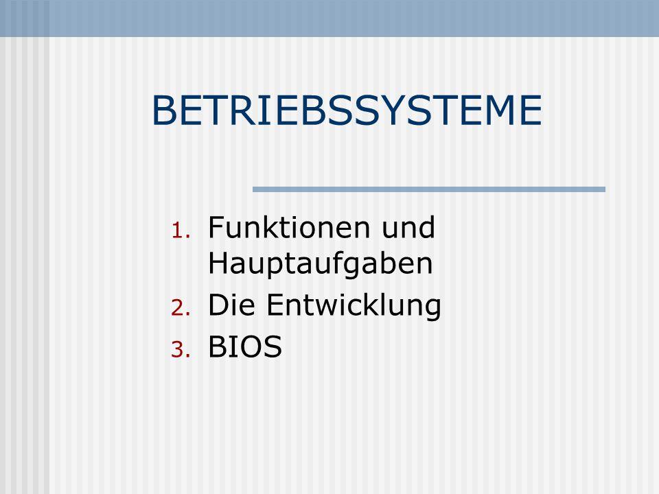 Funktionen und Hauptaufgaben Die Entwicklung BIOS