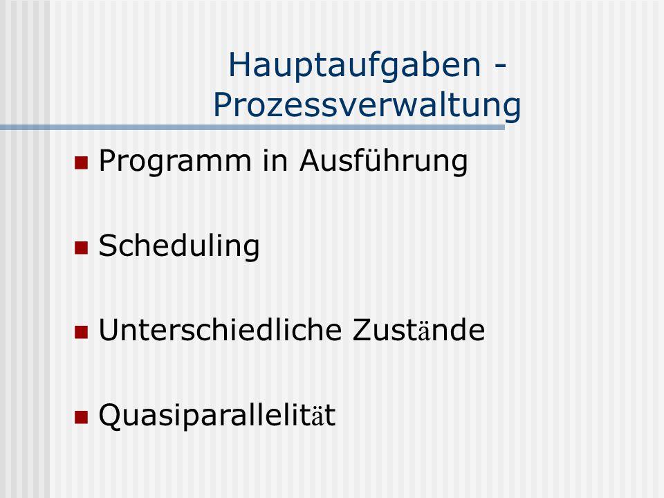 Hauptaufgaben - Prozessverwaltung