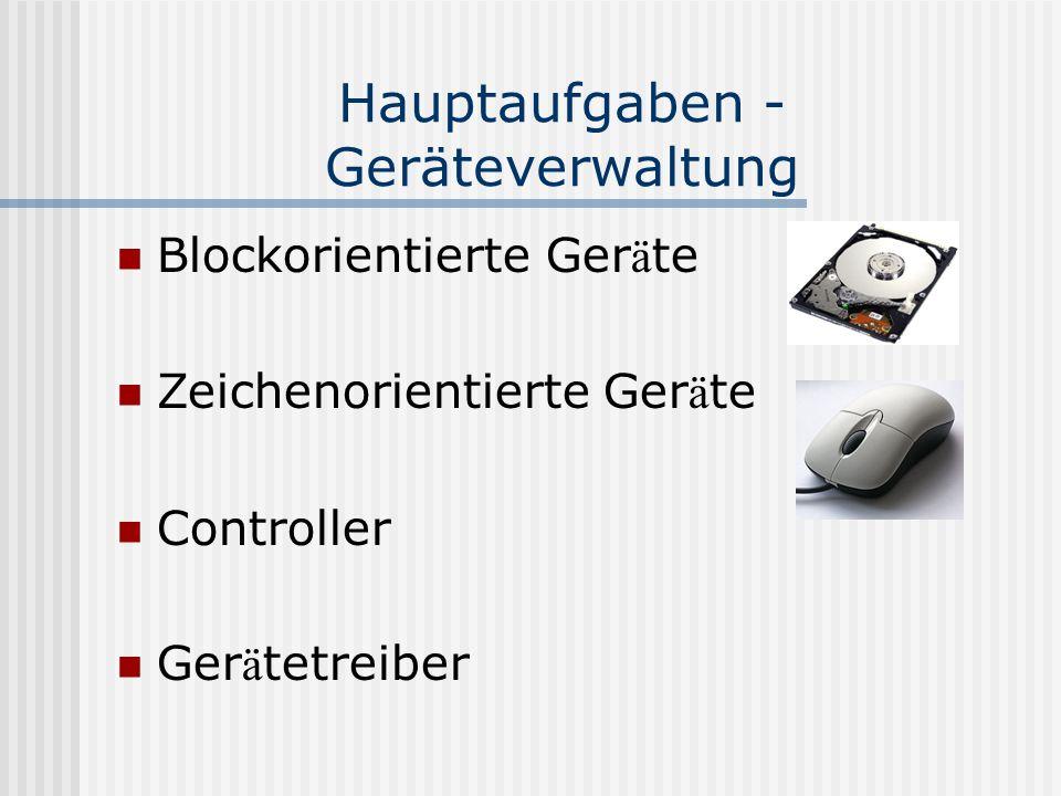Hauptaufgaben - Geräteverwaltung