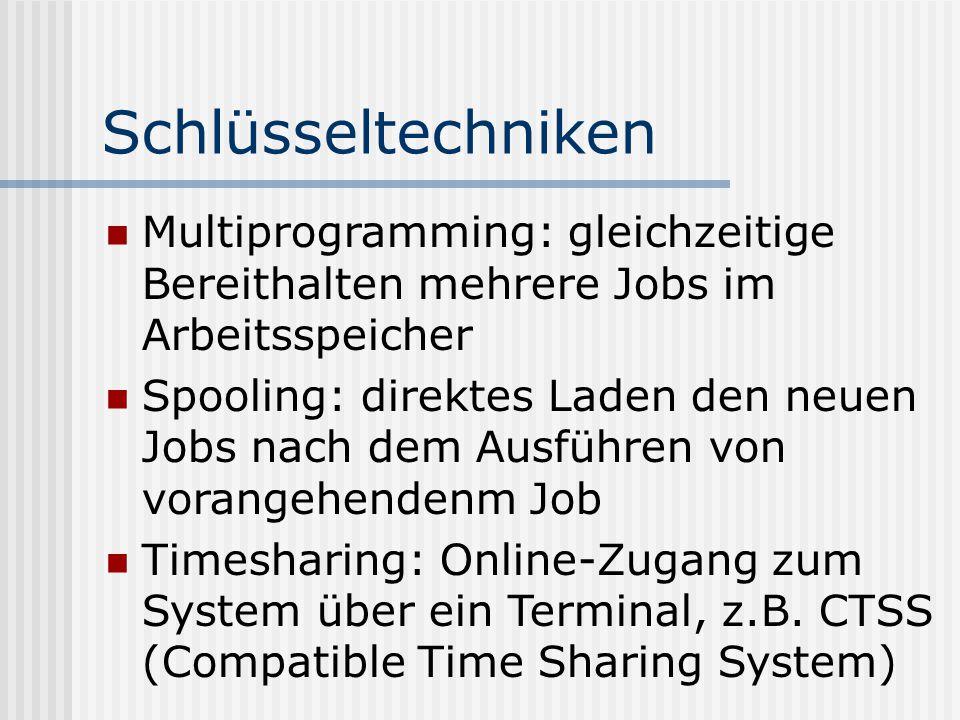 Schlüsseltechniken Multiprogramming: gleichzeitige Bereithalten mehrere Jobs im Arbeitsspeicher.