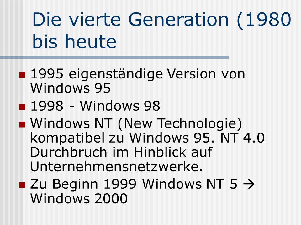 Die vierte Generation (1980 bis heute