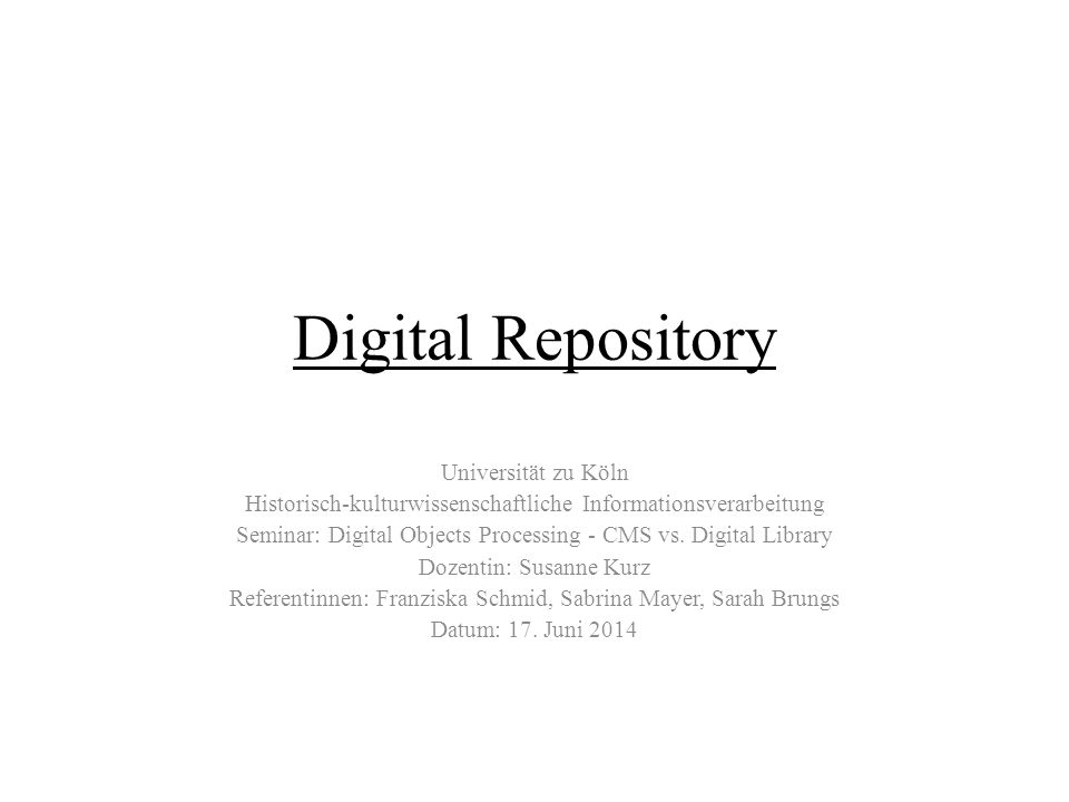 Digital Repository Universität zu Köln