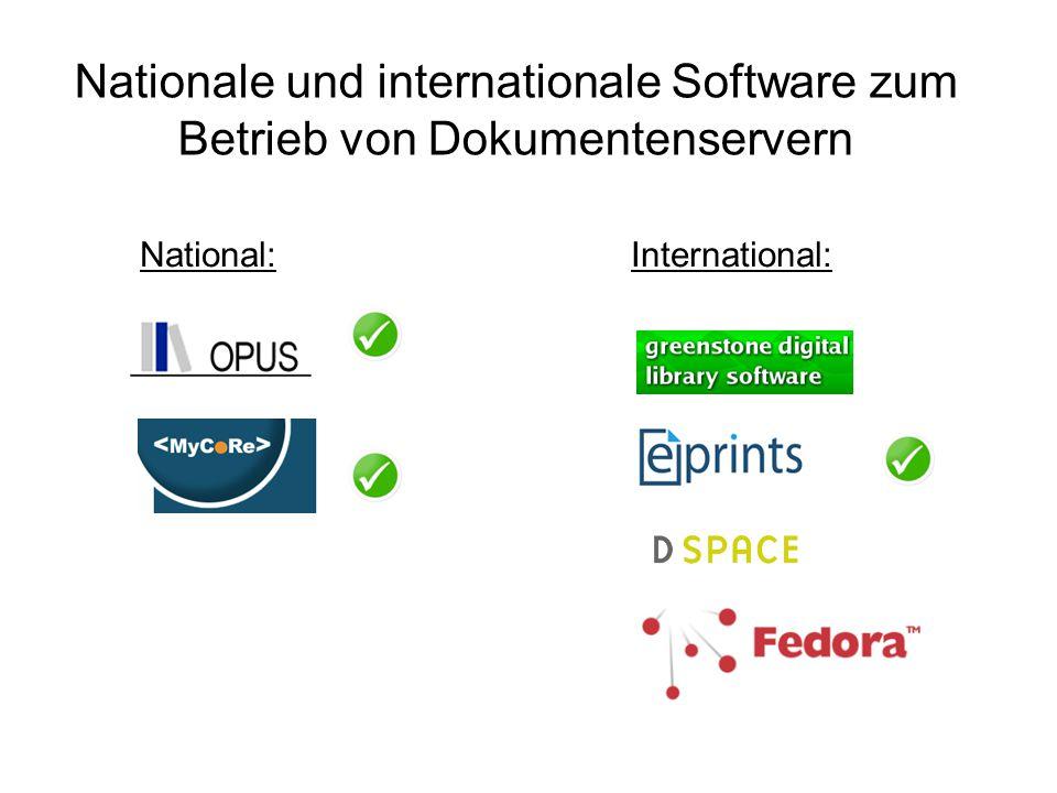Nationale und internationale Software zum Betrieb von Dokumentenservern