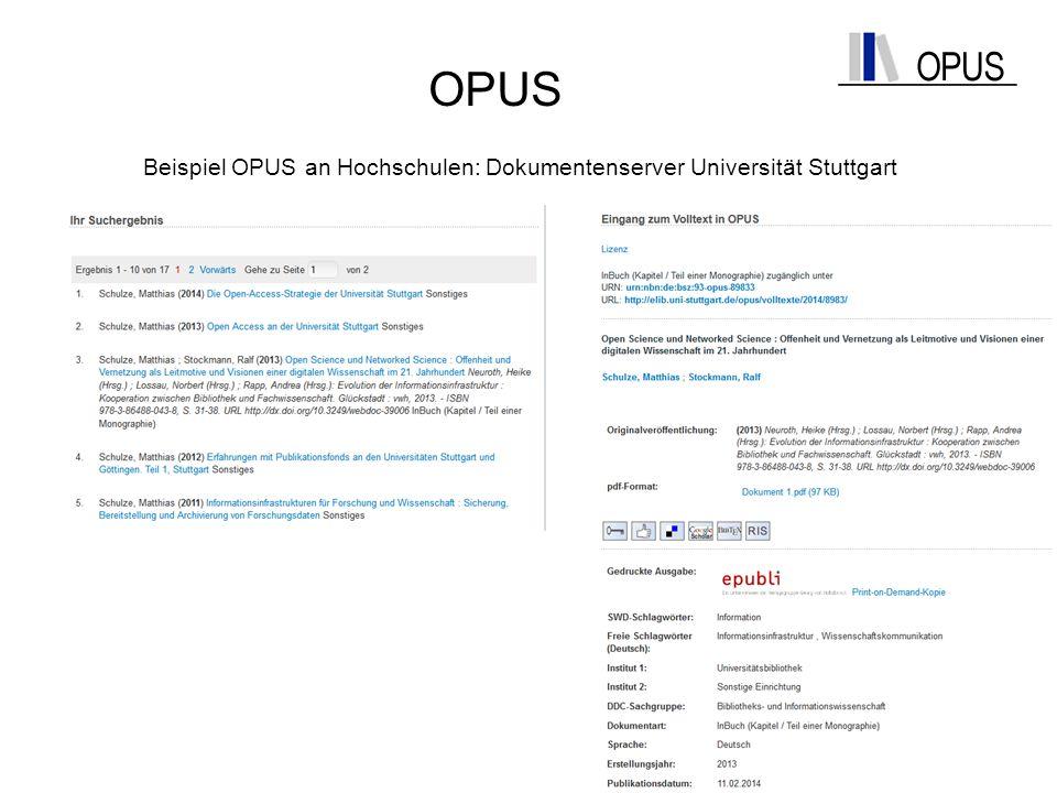 Beispiel OPUS an Hochschulen: Dokumentenserver Universität Stuttgart