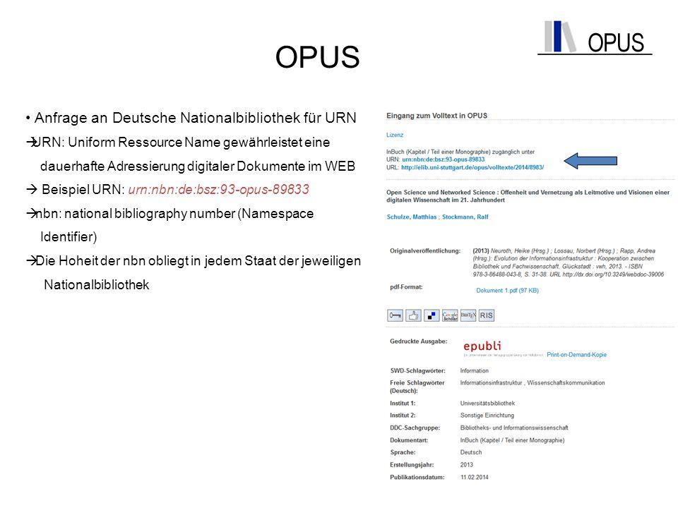 OPUS Anfrage an Deutsche Nationalbibliothek für URN