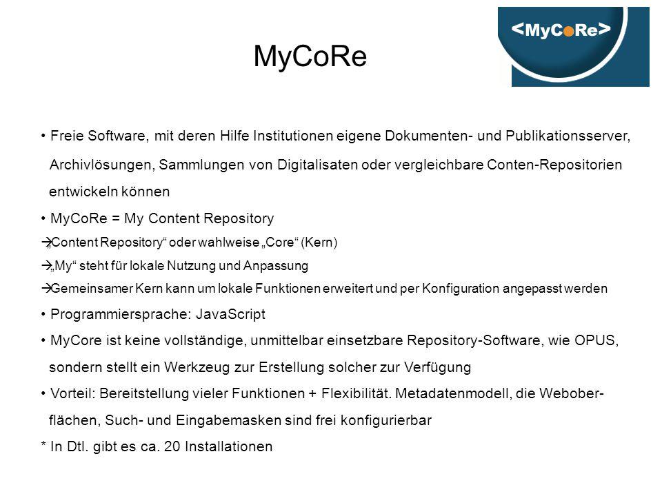 MyCoRe Freie Software, mit deren Hilfe Institutionen eigene Dokumenten- und Publikationsserver,