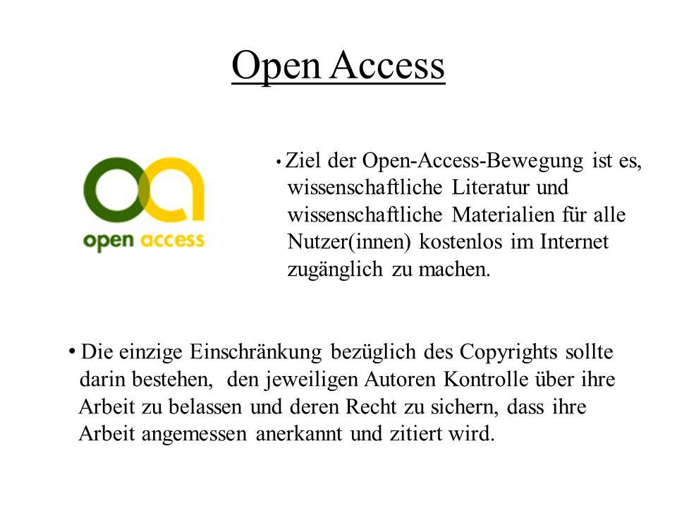 Open Access wissenschaftliche Literatur und