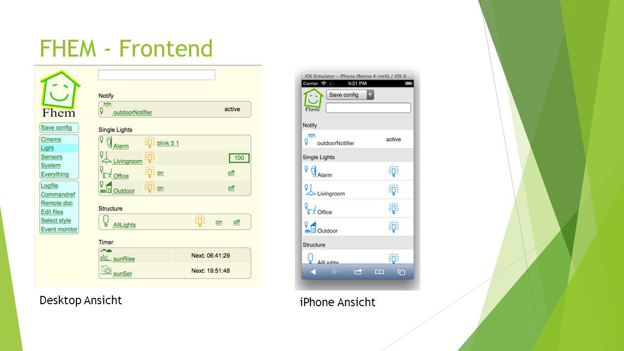 FHEM - Frontend Desktop Ansicht iPhone Ansicht