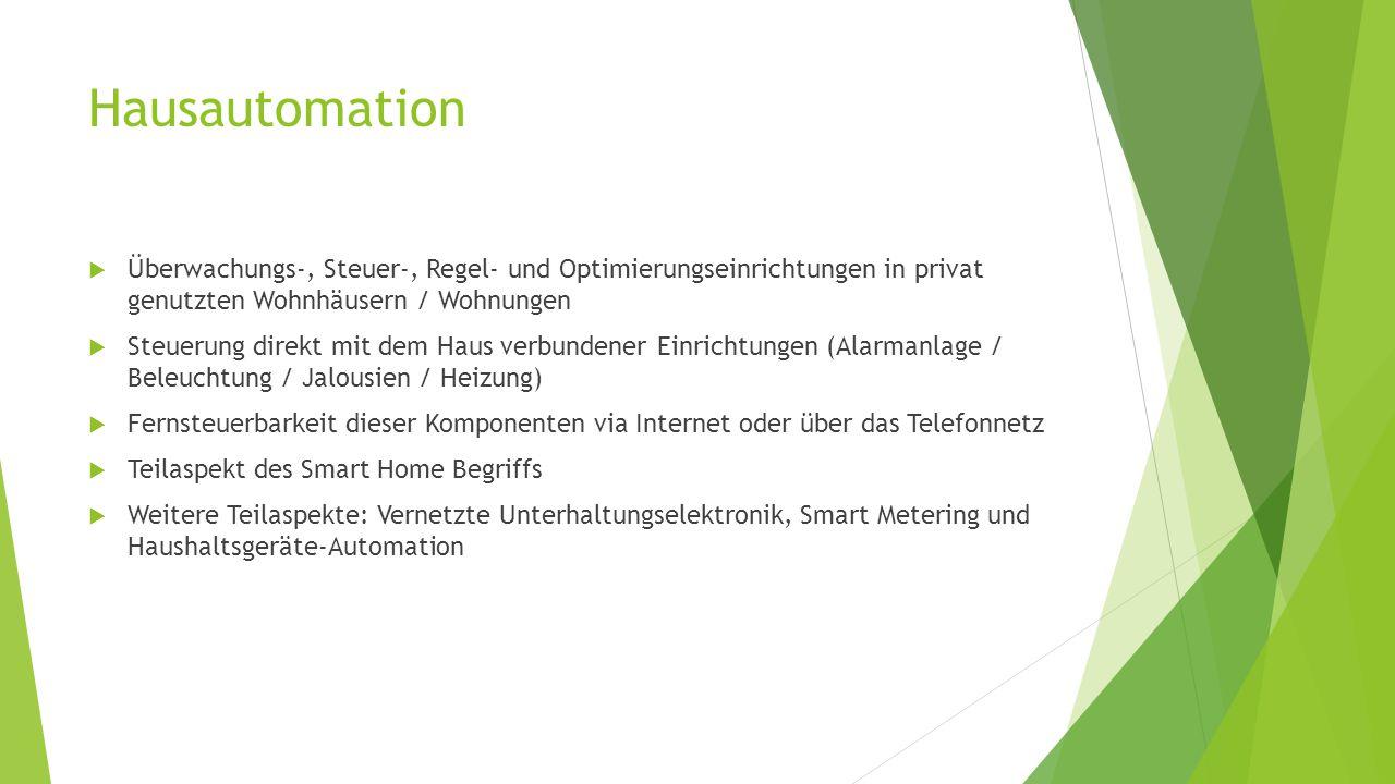 Hausautomation Überwachungs-, Steuer-, Regel- und Optimierungseinrichtungen in privat genutzten Wohnhäusern / Wohnungen.