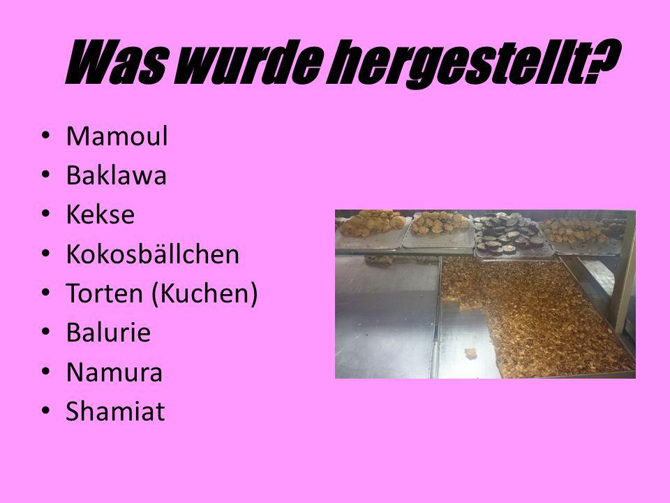 Was wurde hergestellt Mamoul Baklawa Kekse Kokosbällchen
