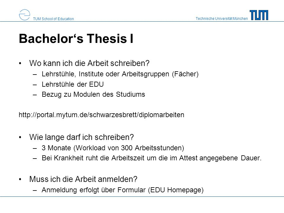 Bachelor's Thesis I Wo kann ich die Arbeit schreiben