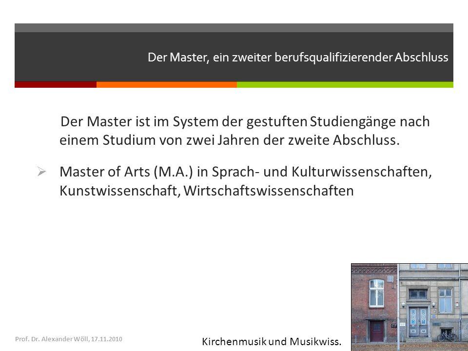 Der Master, ein zweiter berufsqualifizierender Abschluss