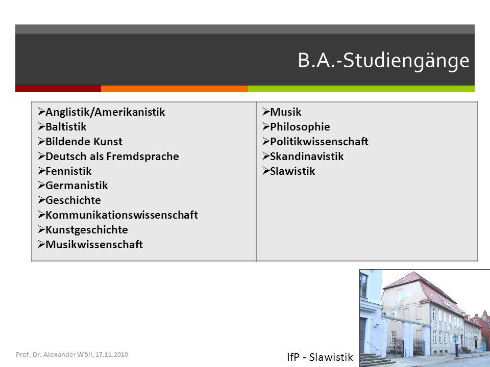B.A.-Studiengänge Anglistik/Amerikanistik Baltistik Bildende Kunst