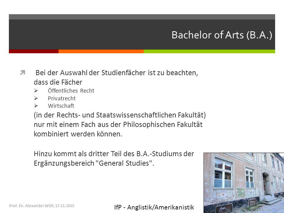 Bachelor of Arts (B.A.) Bei der Auswahl der Studienfächer ist zu beachten, dass die Fächer. Öffentliches Recht.