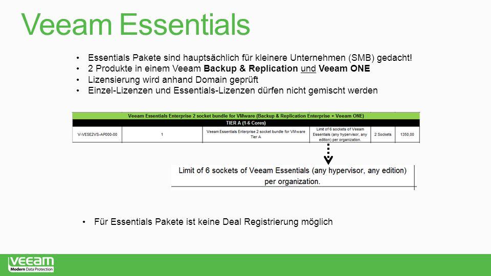 Veeam Essentials Essentials Pakete sind hauptsächlich für kleinere Unternehmen (SMB) gedacht!