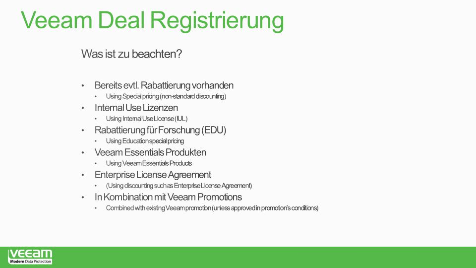 Veeam Deal Registrierung