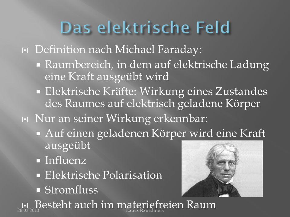 Das elektrische Feld Definition nach Michael Faraday: