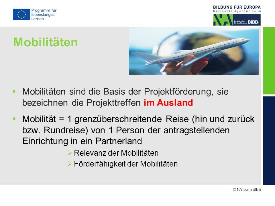 Mobilitäten Mobilitäten sind die Basis der Projektförderung, sie bezeichnen die Projekttreffen im Ausland.