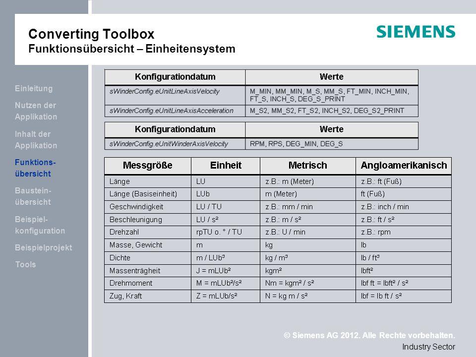 Converting Toolbox Funktionsübersicht – Einheitensystem
