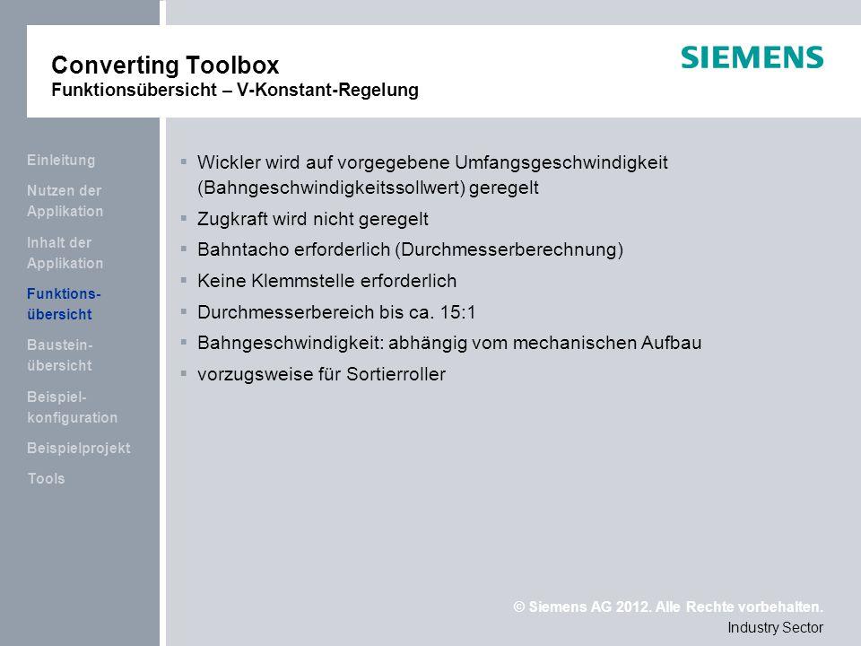 Converting Toolbox Funktionsübersicht – V-Konstant-Regelung
