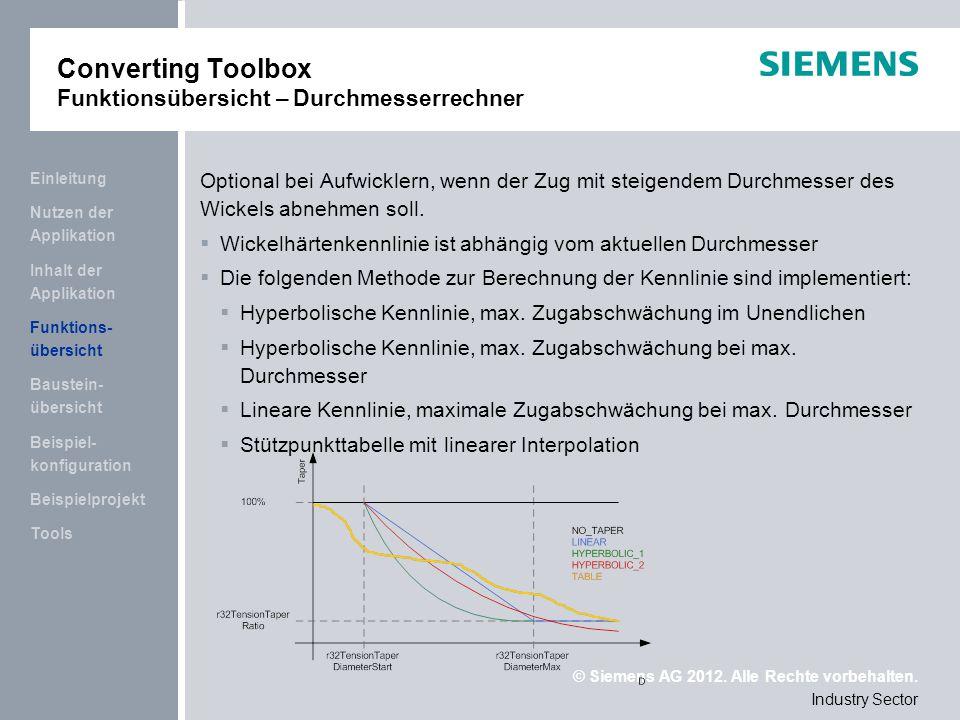 Converting Toolbox Funktionsübersicht – Durchmesserrechner