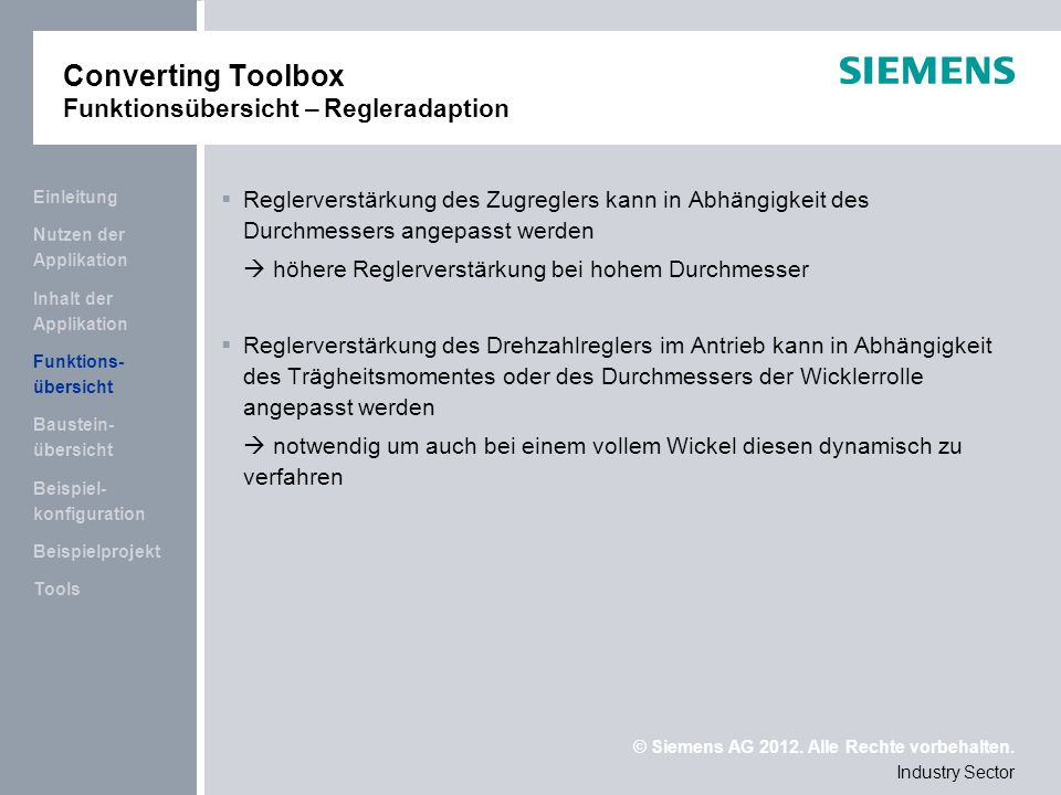 Converting Toolbox Funktionsübersicht – Regleradaption
