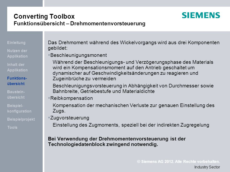 Converting Toolbox Funktionsübersicht – Drehmomentenvorsteuerung