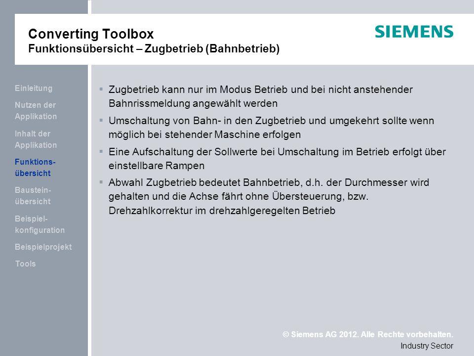 Converting Toolbox Funktionsübersicht – Zugbetrieb (Bahnbetrieb)