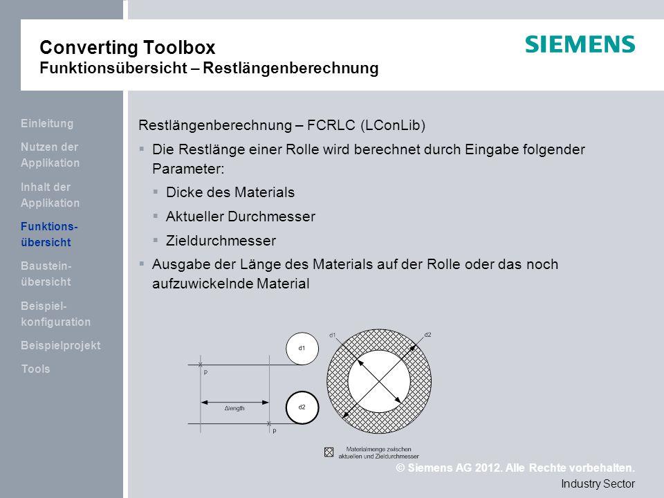 Converting Toolbox Funktionsübersicht – Restlängenberechnung