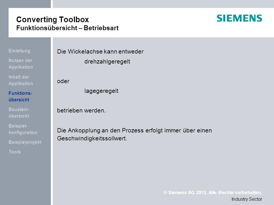 Converting Toolbox Funktionsübersicht – Betriebsart
