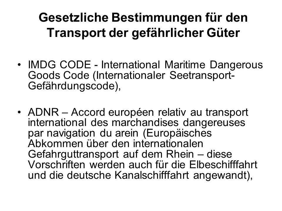 Gesetzliche Bestimmungen für den Transport der gefährlicher Güter