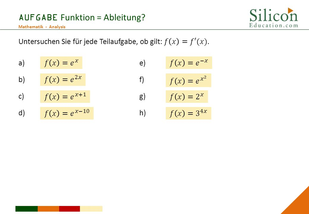 AUFGABE Funktion = Ableitung