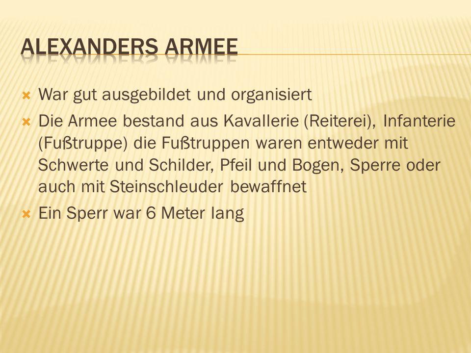 Alexanders Armee War gut ausgebildet und organisiert