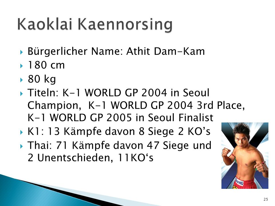 Kaoklai Kaennorsing Bürgerlicher Name: Athit Dam-Kam 180 cm 80 kg