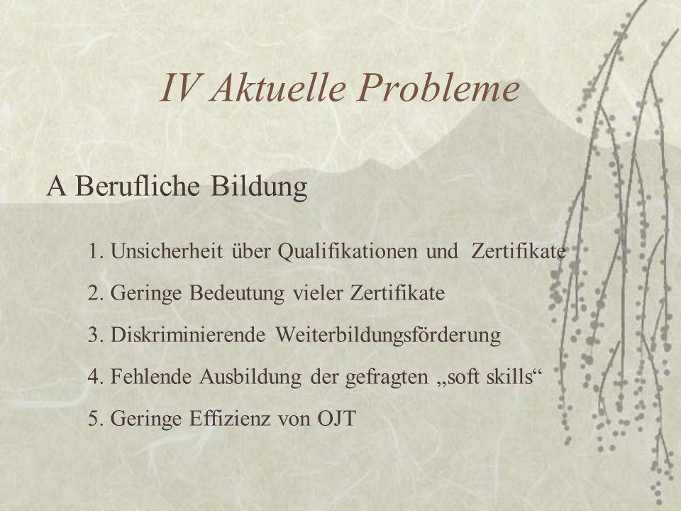 IV Aktuelle Probleme A Berufliche Bildung