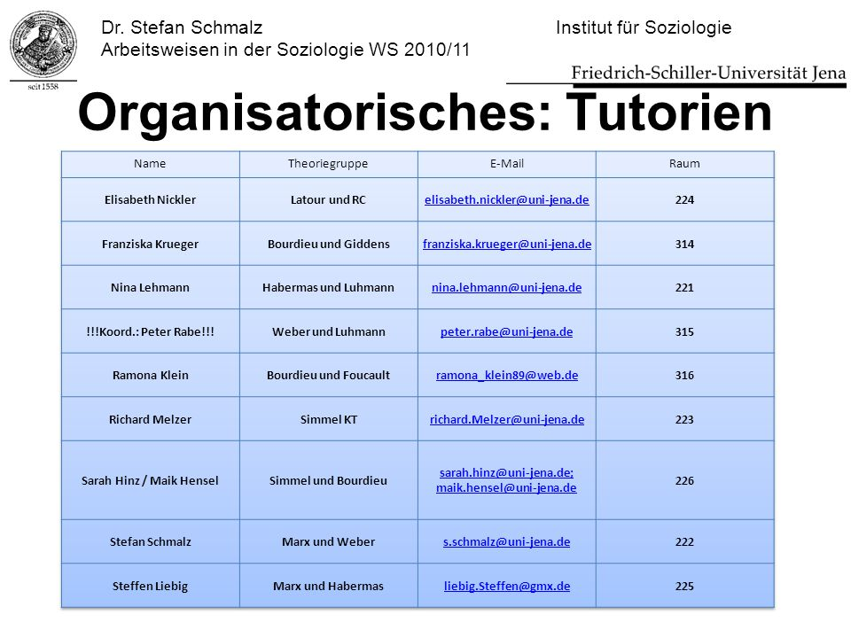 Organisatorisches: Tutorien