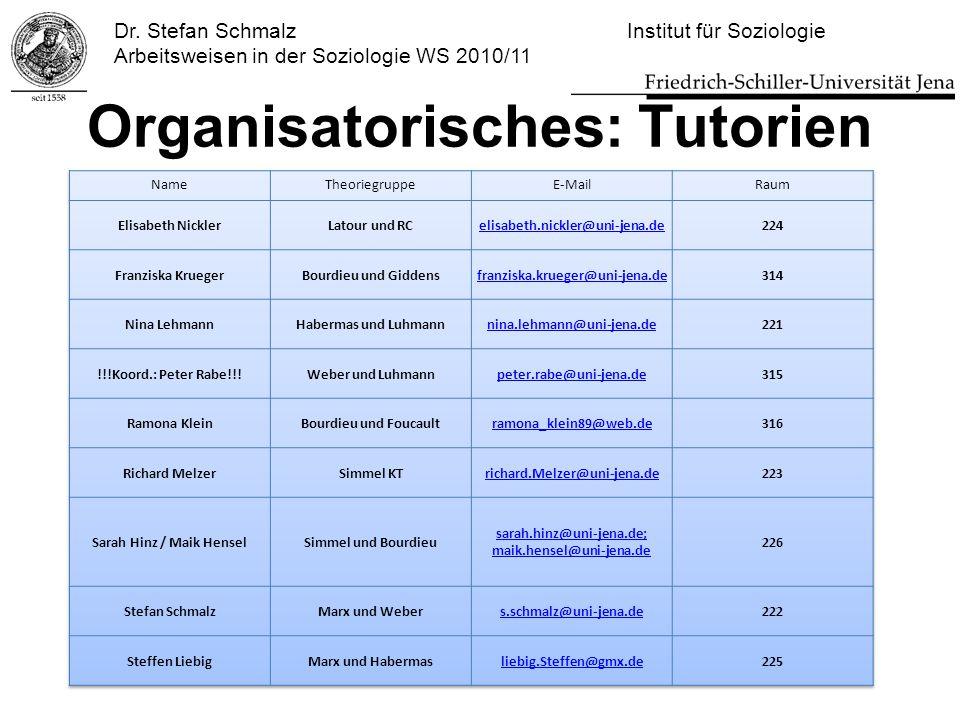 Organisatorisches: Tutorien