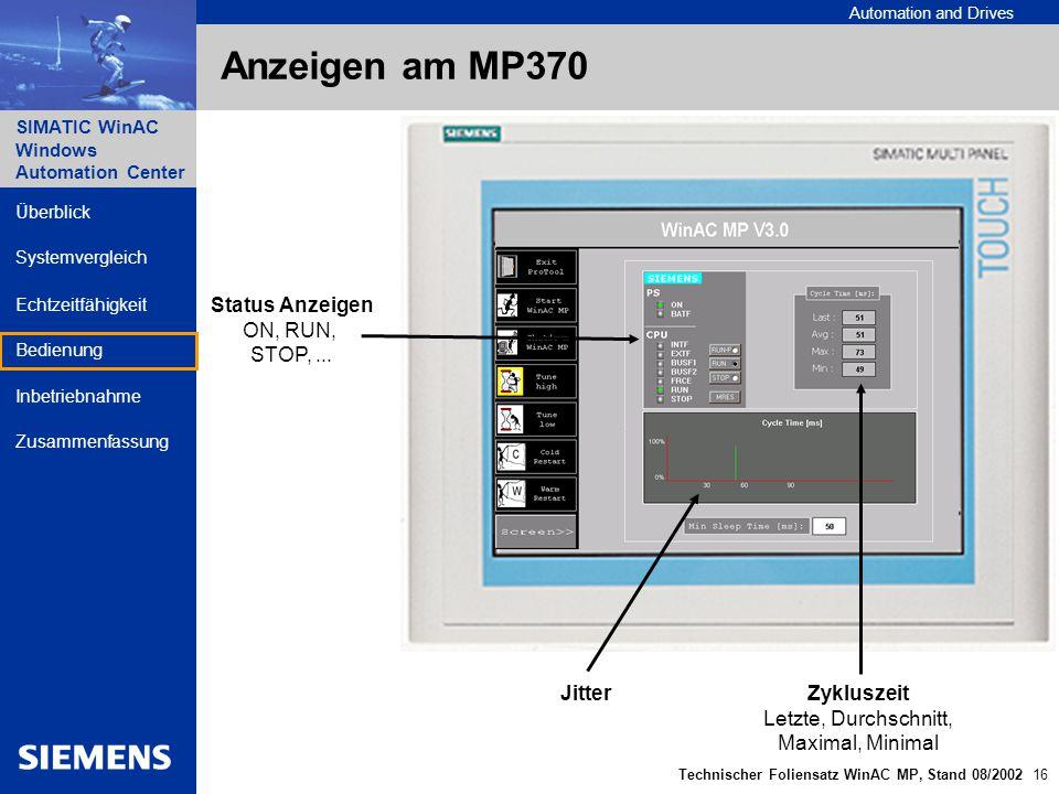 Anzeigen am MP370 Status Anzeigen ON, RUN, STOP, ... Jitter Zykluszeit