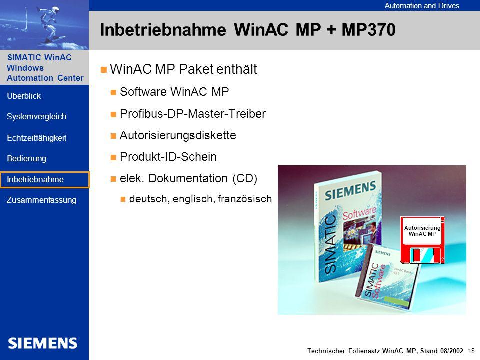 Inbetriebnahme WinAC MP + MP370