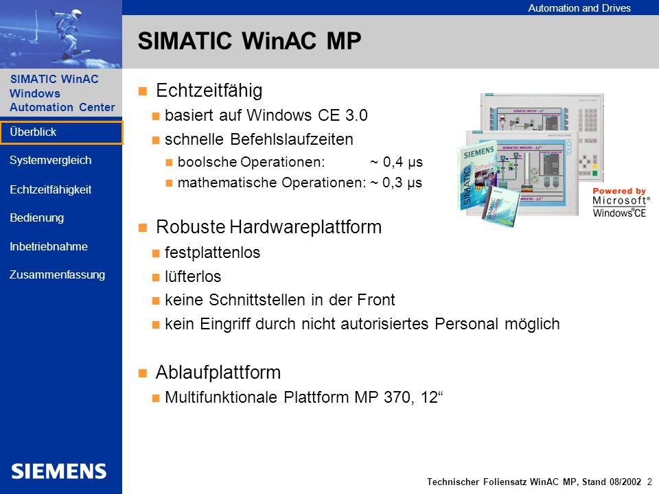 SIMATIC WinAC MP Echtzeitfähig Robuste Hardwareplattform