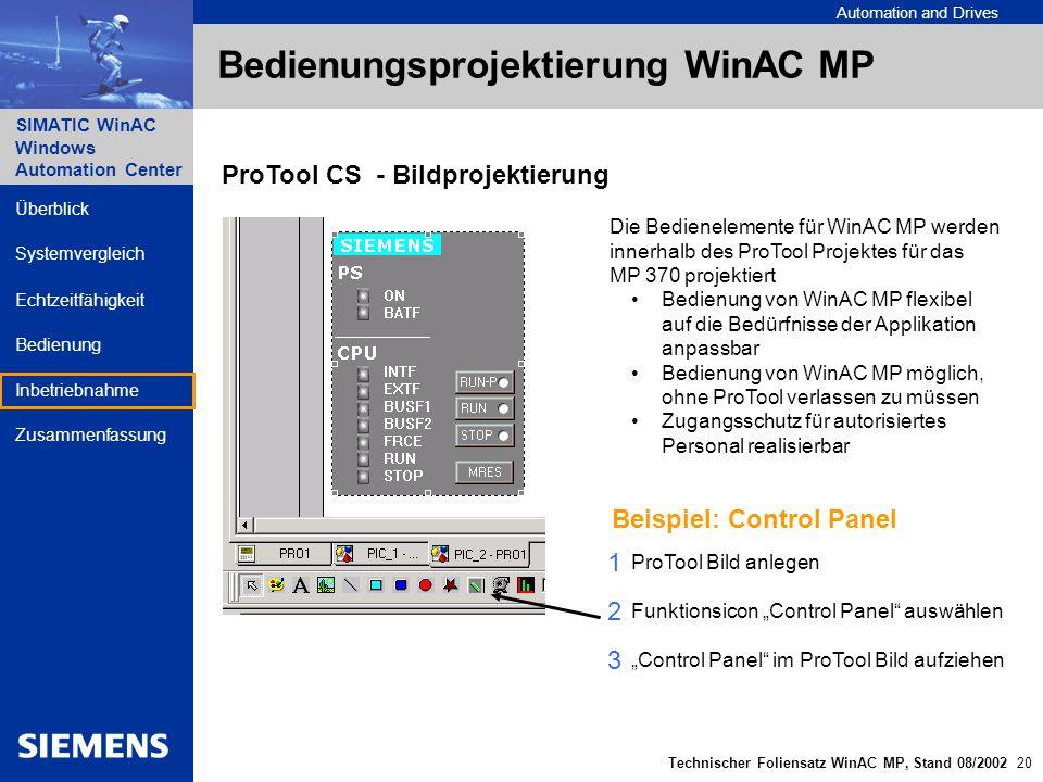 Bedienungsprojektierung WinAC MP
