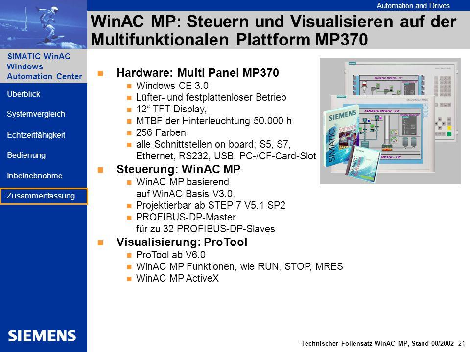 WinAC MP: Steuern und Visualisieren auf der Multifunktionalen Plattform MP370