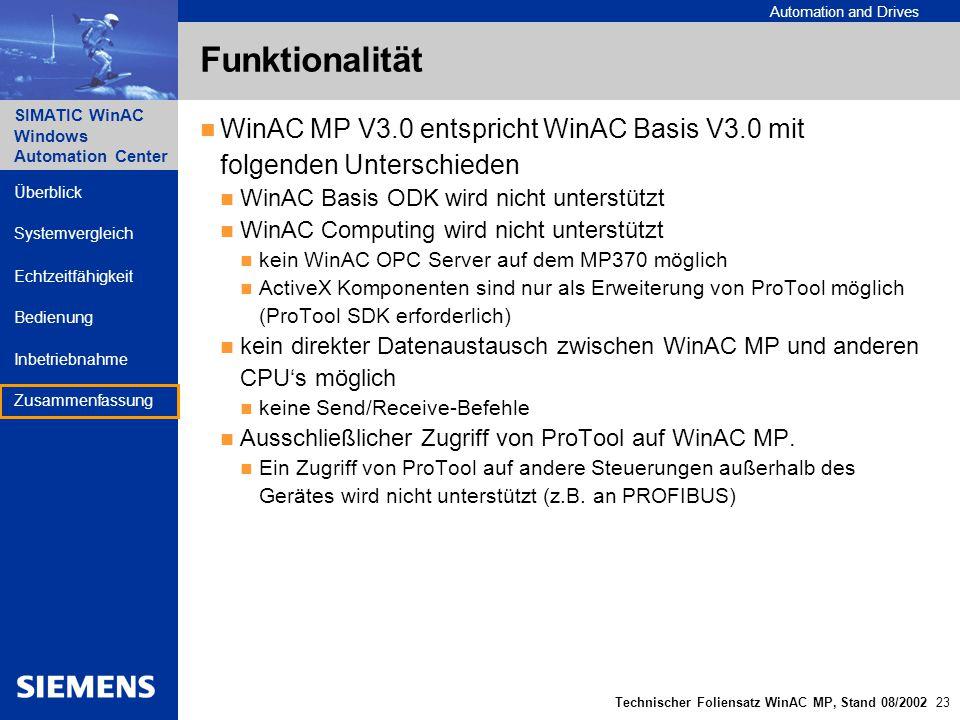 Funktionalität WinAC MP V3.0 entspricht WinAC Basis V3.0 mit folgenden Unterschieden. WinAC Basis ODK wird nicht unterstützt.