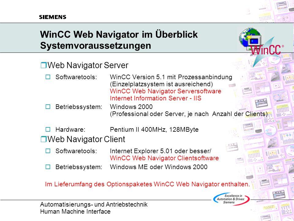 WinCC Web Navigator im Überblick Systemvoraussetzungen